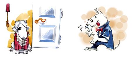 bullterrier: humorous illustration of bull terrier purebred dog Stock Photo