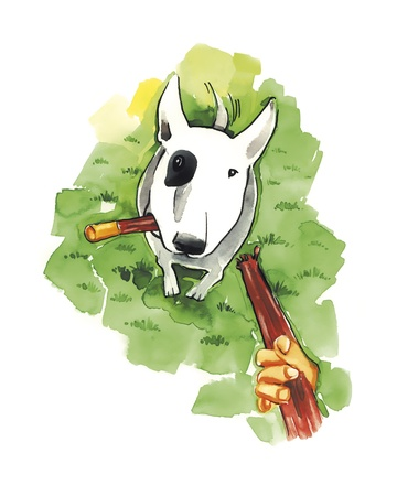 wag: illustration of Bull terrier with stick