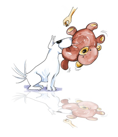 terriers: illustration of Bull terrier with teddy bear