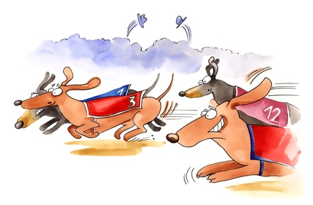 racecourse: humorous illustration of dachshund dogs race