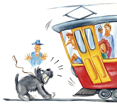 humorous illustration of dog attacking the tram illustration