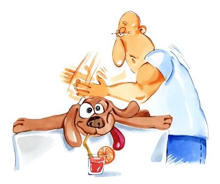 hombre caricatura: Ilustraci�n humor�stica de perro en spa en masaje Foto de archivo