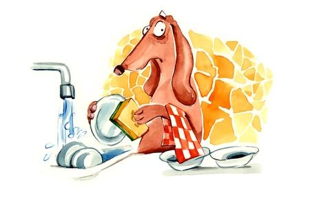 humorous illustration of dachshund dog washing the dishes illustration