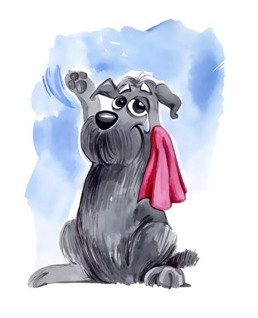 the farewell: Ilustraci�n humor�stica de shaggy dog agitando adi�s Foto de archivo