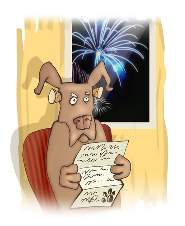 angry dog: humorous illustration of disgusted dog and fireworks Stock Photo