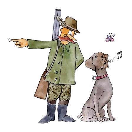 cacciatore con cane: illustrazione umoristico di cane retriever sulla caccia Archivio Fotografico
