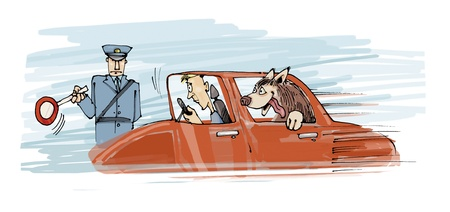 mandate: illustration of policeman stops the car with dog and his owner Stock Photo