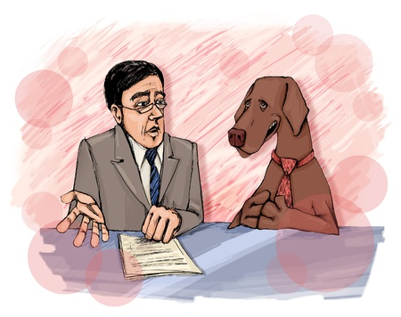 Interview with Dog On Television Stock Photo - 9274999