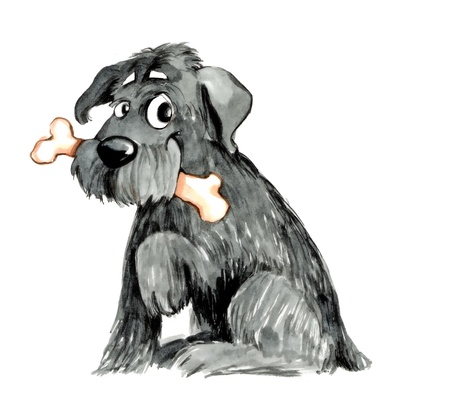 hairy adorable: humorous illustration of shaggy dog with bone
