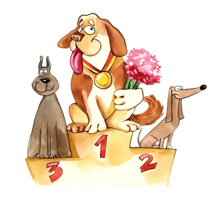 second place: humorous illustration of dogs on exhibition podium Stock Photo