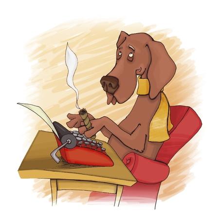 humorous illustration of dog writing on type machine illustration