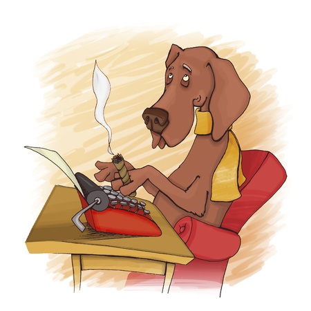 poet: humorous illustration of dog writing on type machine Stock Photo