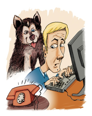 illustration of husky dog his owner and phone calling Stock Illustration - 9275021