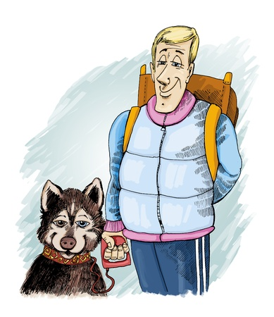 humorous Illustration of husky dog and his owner on trip illustration