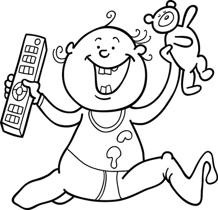 baby boy with remote control and teddy bear for coloring book Illustration