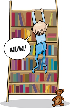 illustration of baby boy climbing on bookcase