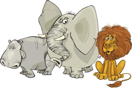 Cartoon illustration of african animals group Vector