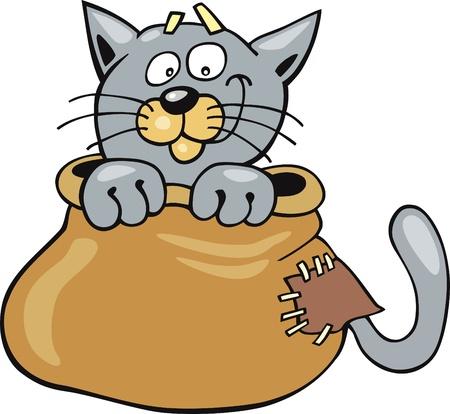 mouser: Cartoon illustration of Cat in sack