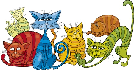 moggie: Cartoon illustration of funny color cats Illustration
