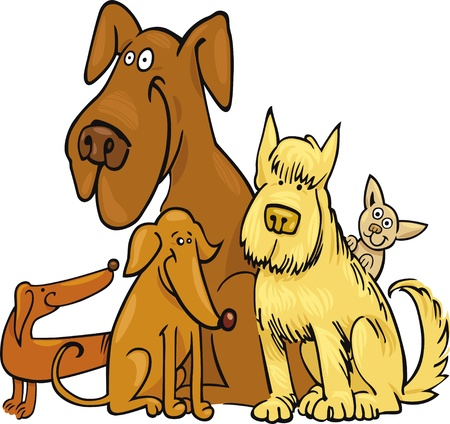 cartoon illustration of five funny dogs
