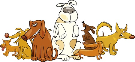 funny dog: Cartoon illustration of funny dogs group