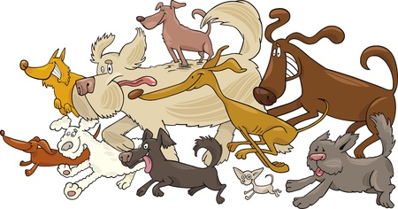 dog run: Cartoon illustration of running dogs