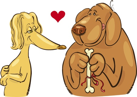 Cartoon illustration of dogs in love Vector