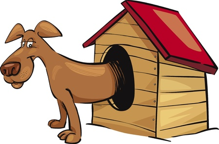 doghouse: Cartoon illustration of dog in kennel
