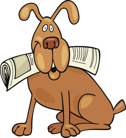 pointer dog: Cartoon illustration of Dog with newspaper