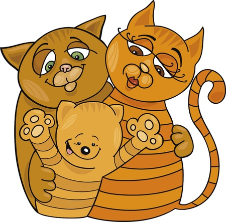 moggie: Cartoon illustration of happy cats family