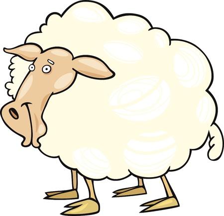Cartoon illustration of farm sheep Stock Vector - 9703553