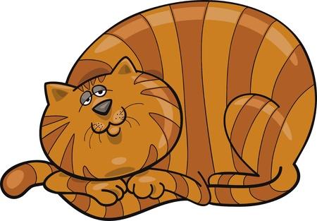 gato dibujo: Ilustraci�n de dibujos animados de feliz fat cat rojo