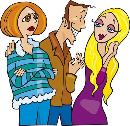 귀여운 금발 소녀와 그의 질투하는 아내와 얘기하는 남자