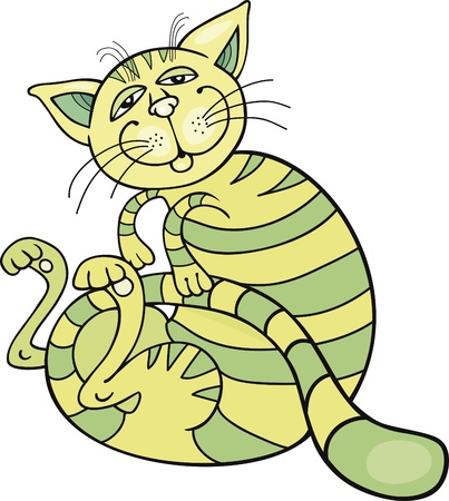 moggie: Cartoon illustration of happy green cat Illustration