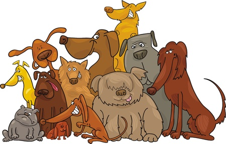 dog sitting: Cartoon illustration of funny dogs group