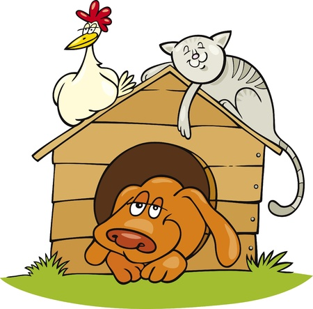 dog kennel: Illustration of Happy farm animals