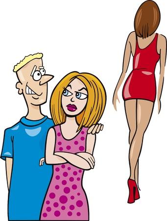 novios enojados: mujer celosa y su novio mirando sexy girl