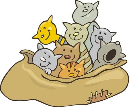 Cartoon illustration of cats in sack