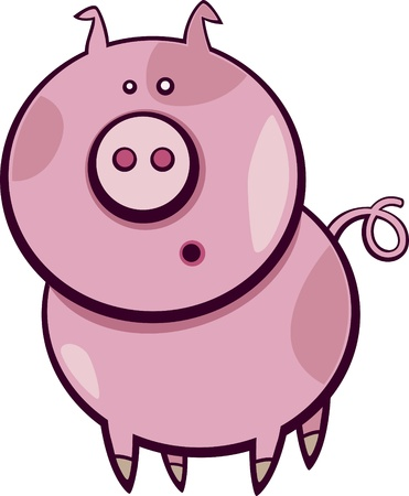 Cartoon illustration of funny surprised pig Vector