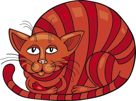 Cartoon illustration of Red Cat Vector