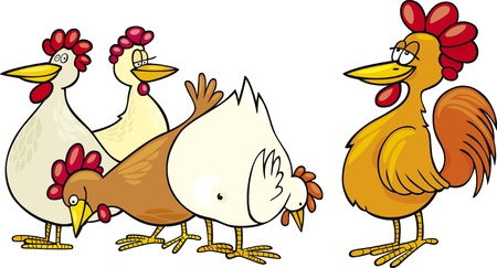 cartoon Illustration of rooster and hens Vector