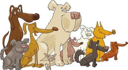 Cartoon illustration of Sitting dogs group