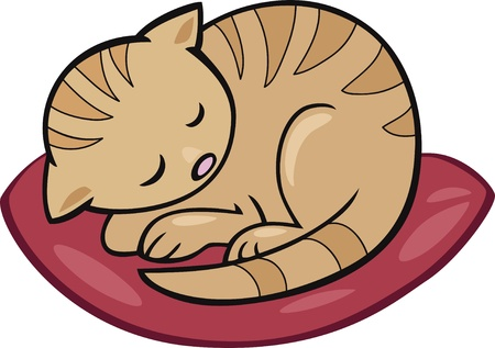 moggie: Cartoon illustration of sleeping kitten