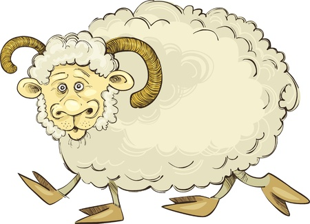 cartoon Illustration of funny ram Vector