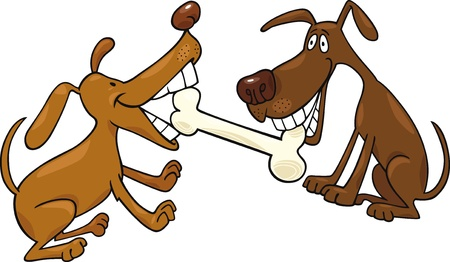 cartoon illustration of two dogs playing with bone
