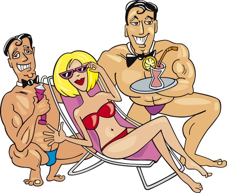 Illustration of happy woman on the beach with two handsome guys Vector