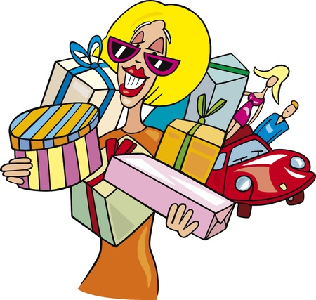 Cartoon illustration of Woman on shopping Vector