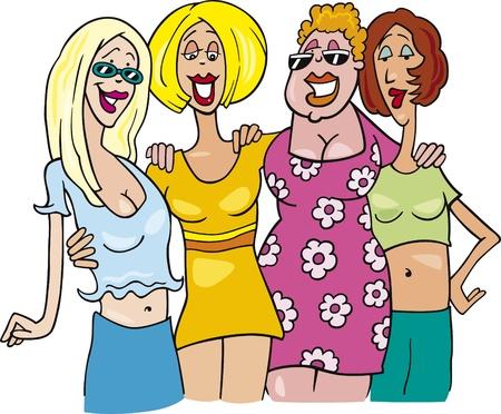 cartoon illustration of four women on meeting Stock Vector - 9703547