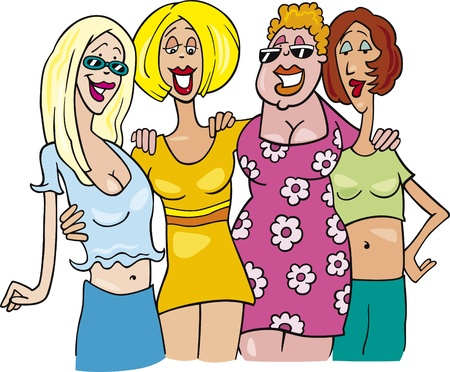 cartoon illustration of four women on meeting Vector