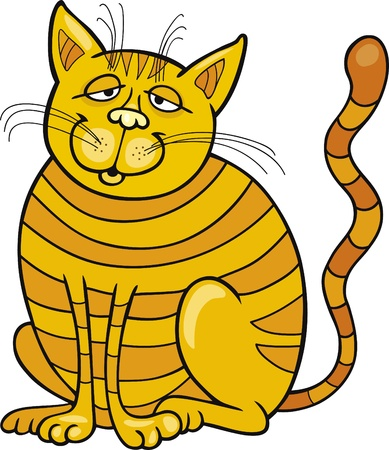 moggie: Cartoon illustration of Happy Yellow Cat